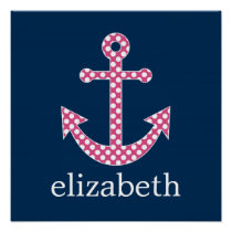Cute Pink Polka Dot Anchor with Navy Custom Name Poster