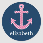 Cute Pink Polka Dot Anchor with Navy Custom Name Classic Round Sticker