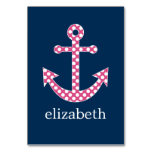 Cute Pink Polka Dot Anchor with Navy Custom Name Table Cards