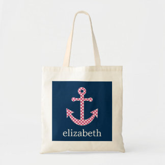 Cute Pink Polka Dot Anchor with Navy Custom Name Tote Bag
