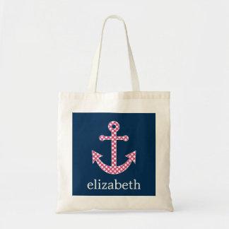 Cute Pink Polka Dot Anchor with Navy Custom Name Tote Bag