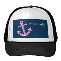 Cute Pink Polka Dot Anchor with Navy Custom Name Trucker Hat