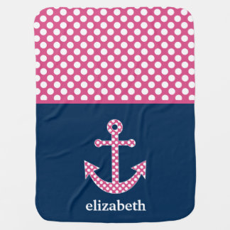 Cute Pink Polka Dot Anchor with Navy Custom Name Baby Blanket