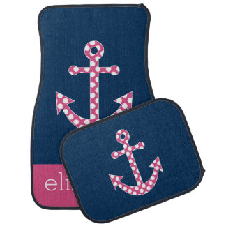 Cute Pink Polka Dot Anchor with Navy Custom Name Floor Mat