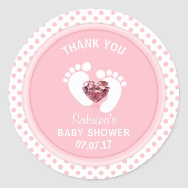 Toddler & Baby themed Cute Pink Polka Dot Baby Shower/Sprinkle Girl Classic Round Sticker