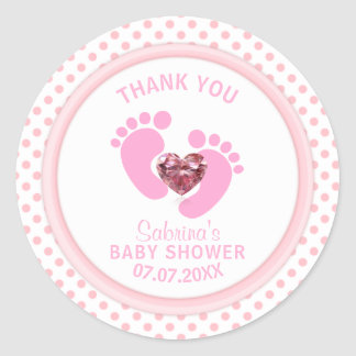 Cute Pink Polka Dot Baby Shower/Sprinkle Girl Classic Round Sticker