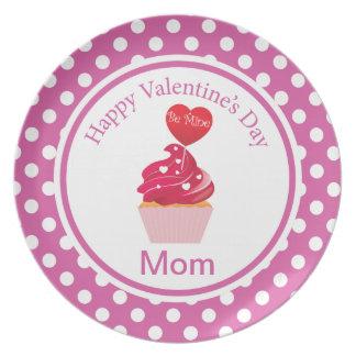 Cute pink polka dot Cupcake valentine's day Plate