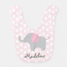 Cute Pink Polka Dot Elephant Bib