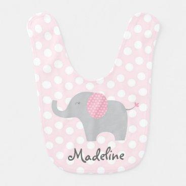 Toddler & Baby themed Cute Pink Polka Dot Elephant Bib