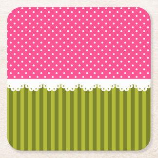 Cute Pink Polka Dot Green Stripes Pattern Square Paper Coaster
