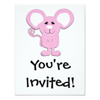 cute pink polka dot mousey mouse 4.25x5.5 paper invitation card