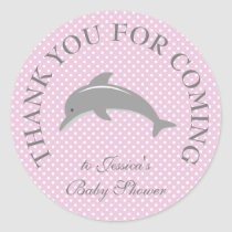 Cute pink polka dots dolphin baby shower stickers