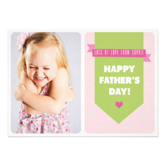 Cute Pink Polka Dots Father s Day Flat Card
