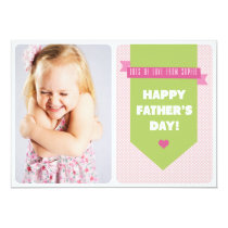 Cute Pink Polka Dots | Father's Day Flat Card