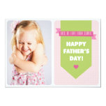 Cute Pink Polka Dots   Father's Day Flat Card Invitation