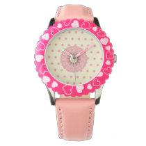 cute pink polka dots flower fun design wristwatch