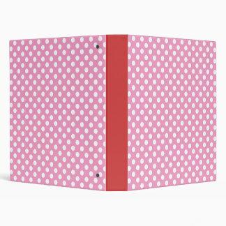 Cute Pink Polka Dots Pattern 3 Ring Binder