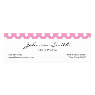 Cute Pink Polka Dots Pattern Double-Sided Mini Business Cards (Pack Of 20)