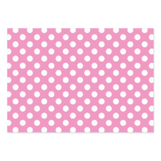 Cute Pink Polka Dots Pattern Large Business Cards (Pack Of 100)