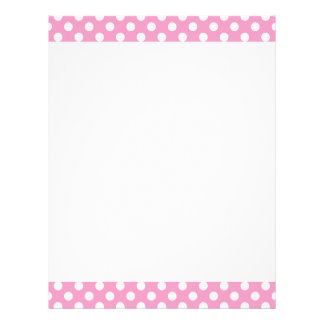 Cute Pink Polka Dots Pattern Custom Letterhead