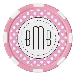 Cute Pink Polka Dots Pattern Poker Chips Set