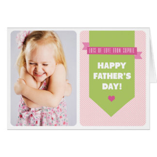 Cute Pink Polka Dots | Photo Father's Day Card