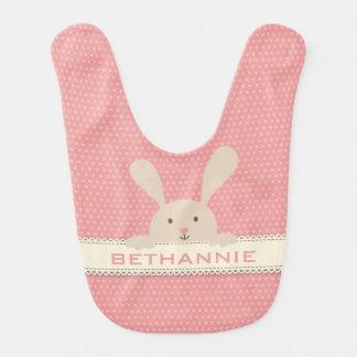 Cute Pink PolkaDot Bunny Face•Custom Bib