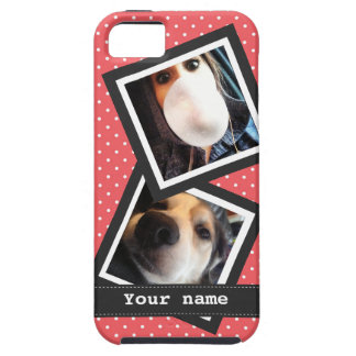 Cute Pink Polkadots with 2 Square Instagram Photos iPhone 5 Covers