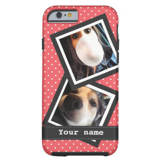 Cute Pink Polkadots with 2 Square Instagram Photos Tough iPhone 6 Case