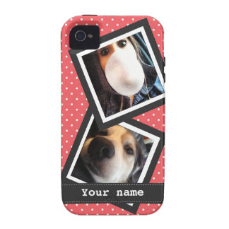Cute Pink Polkadots with 2 Square Instagram Photos iPhone 4 Cover