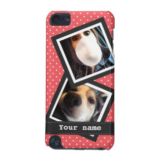 Cute Pink Polkadots with 2 Square Instagram Photos iPod Touch 5G Case