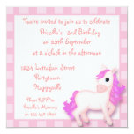 "Cute Pink Pony Horse Childrens Party Invitations 5.25"" Square Invitation Card"