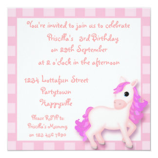 """Cute Pink Pony Horse Childrens Party Invitations 5.25"""" Square Invitation Card"""