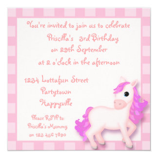 pink pony invitations  announcements  zazzle, Party invitations