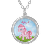 Cute Pink Pony Personalized Horse Silver Plated Necklace