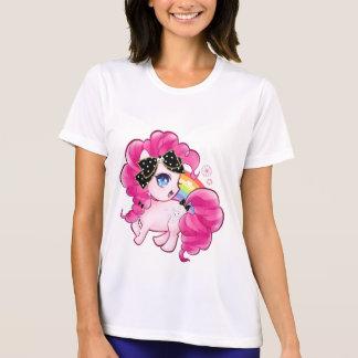 Cute pink pony with kawaii black bow and rainbow T-Shirt