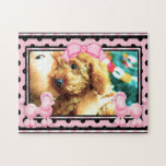 Cute Pink Poodle Puppy Polka Dot Photo Puzzle