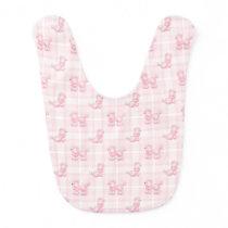 Cute Pink Poodles & Checks Bib