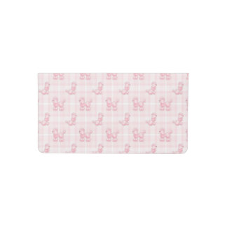 Cute Pink Poodles & Checks Checkbook Cover