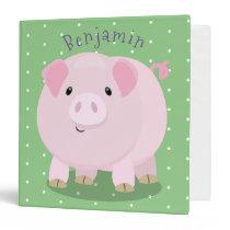 Cute pink pot bellied pig cartoon illustration 3 ring binder