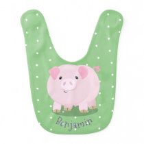 Cute pink pot bellied pig cartoon illustration baby bib