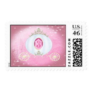 Cute Pink Princess Carraige Birthday Party Stamps