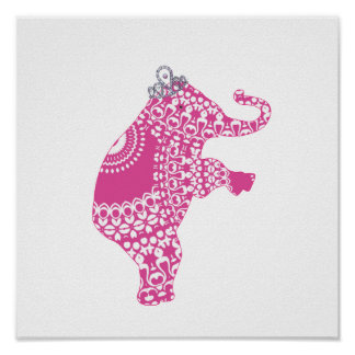 Cute Pink Princess Elephant Baby Nursery Print