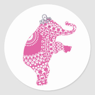 Cute Pink Princess Elephant Children's Stickers