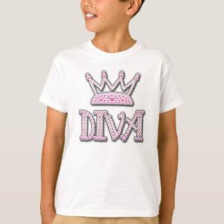Cute Pink Printed Pearls Diva Crown T-Shirt