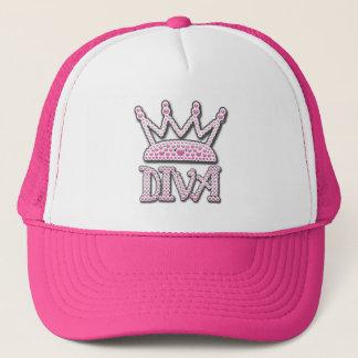 Cute Pink Printed Pearls Diva Crown Trucker Hat