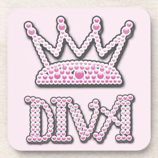 Cute Pink Printed Pearls Diva Princess Crown Coaster
