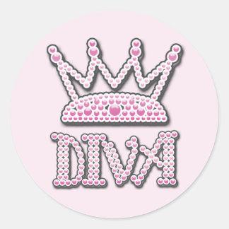 Cute Pink Printed Pearls Diva Princess Crown Round Stickers