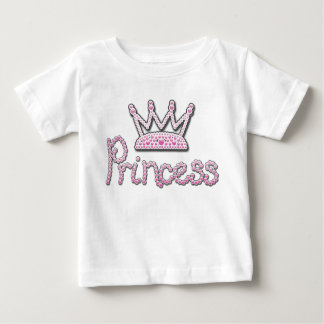 Cute Pink Printed Pearls Princess Crown Baby T-Shirt