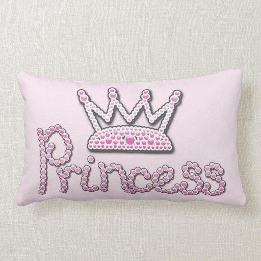 Cute Pink Printed Pearls Princess Crown Throw Pillow Zazzle